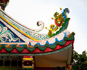 Architectural Detail: Dragon Statue on Chinese Temple Roof