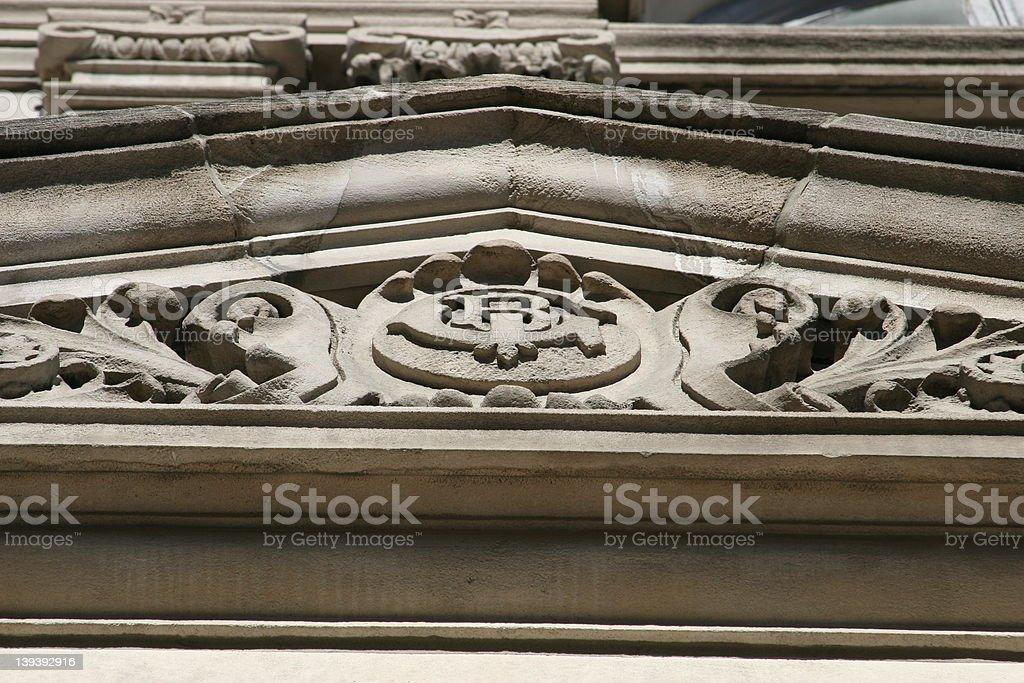 Architectural Detail Limestone Cornice stock photo