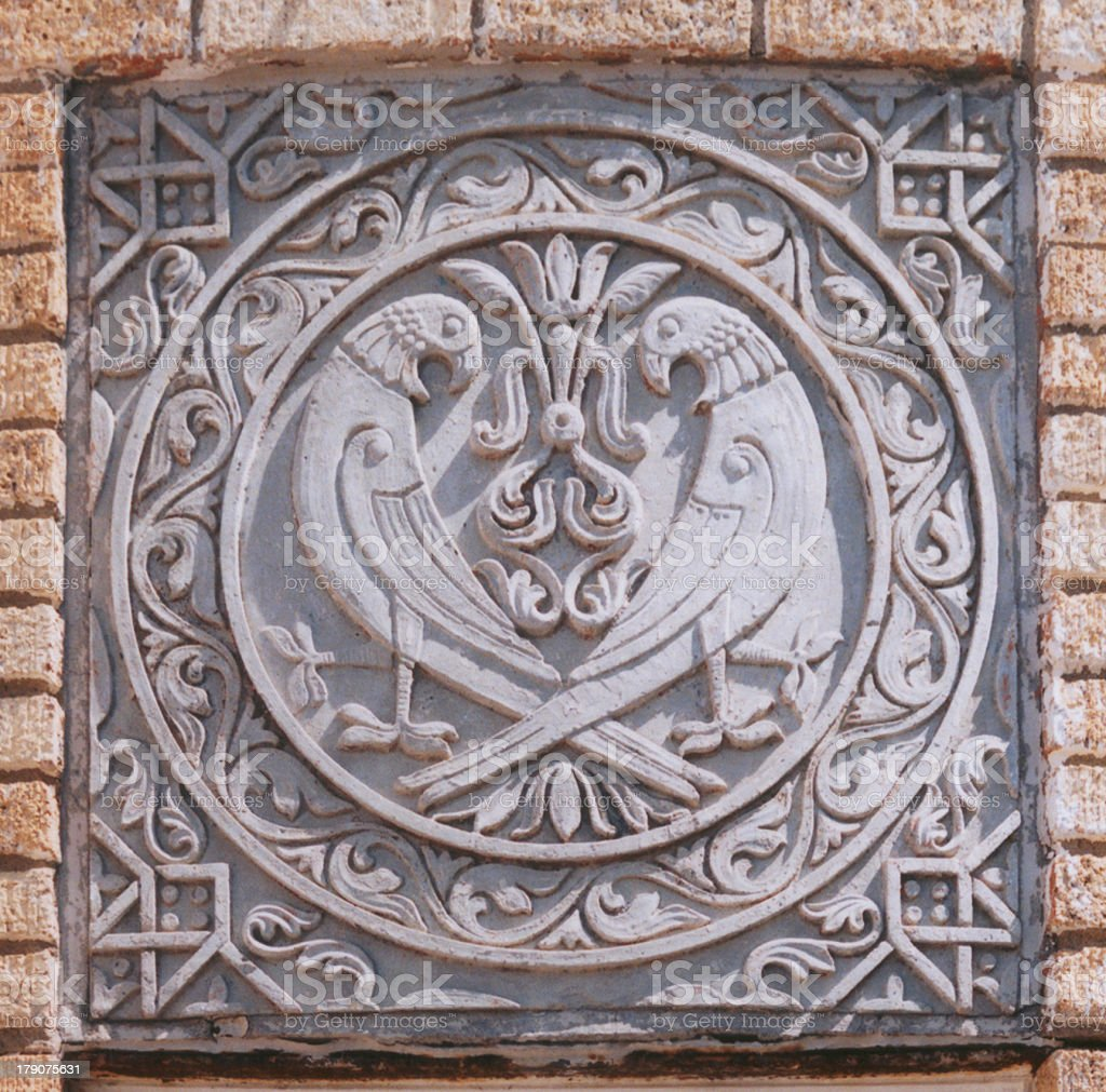 Architectural Detail Medallion with Two Birds royalty-free stock photo