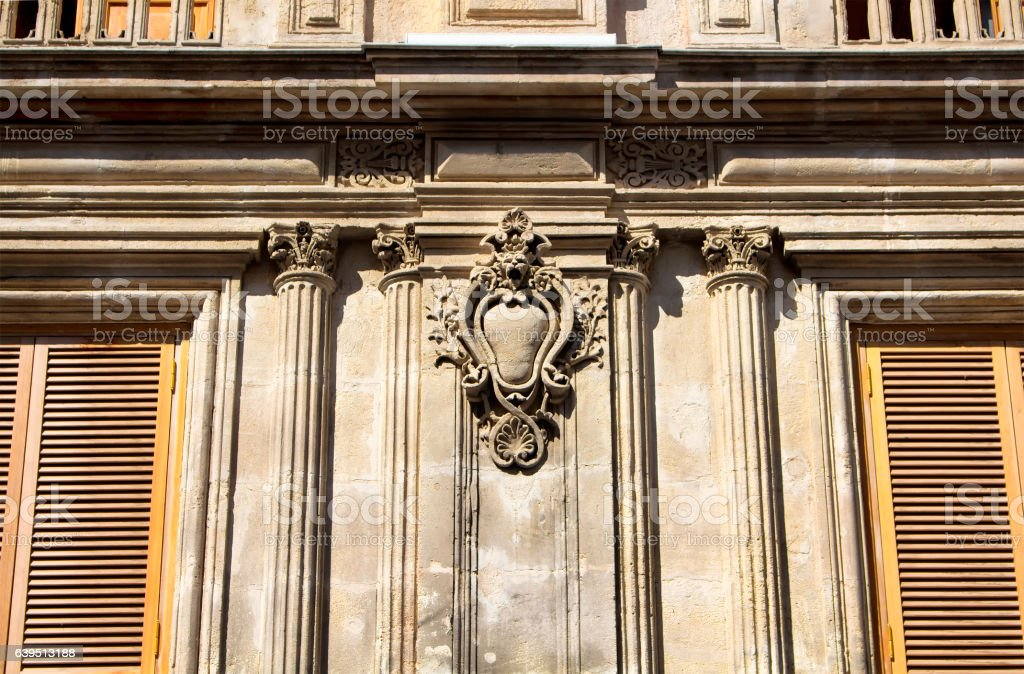 Architectural detail of a historical, old building stock photo