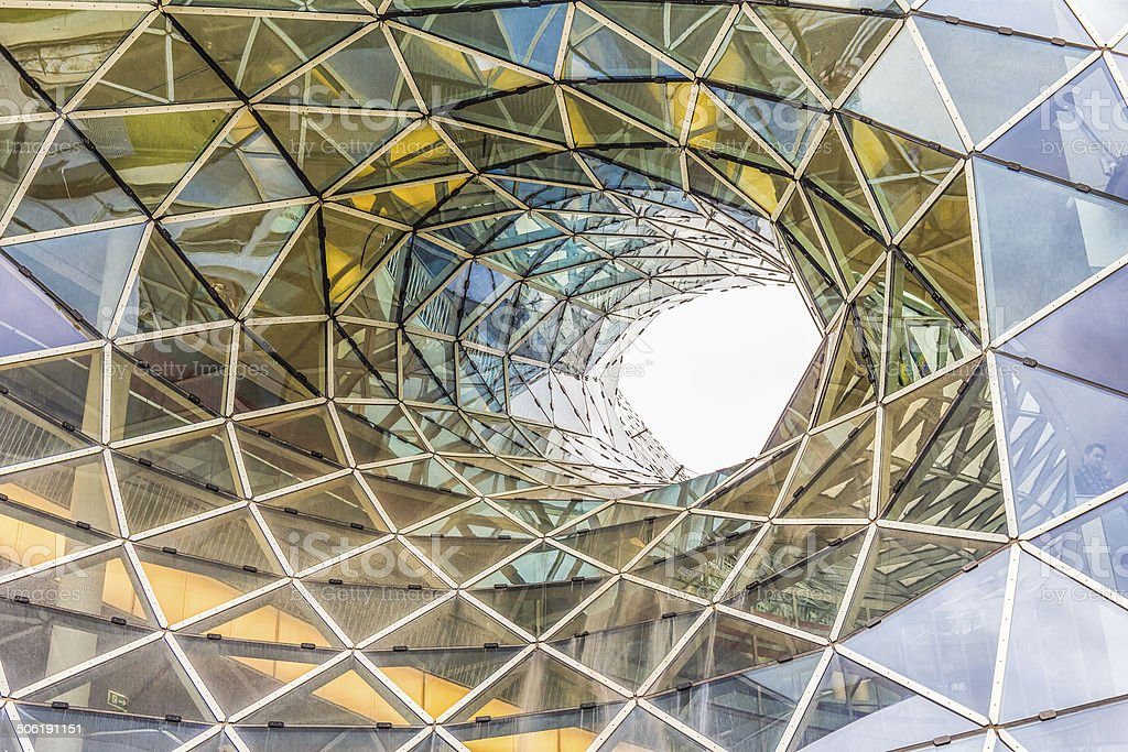 Architectural detail of a shopping mall in Frankfurt stock photo
