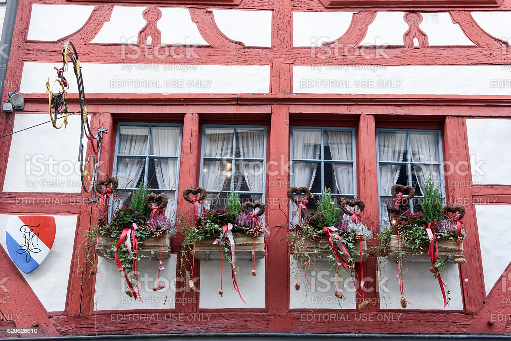 Architectural detail of a window at St. Gallen stock photo