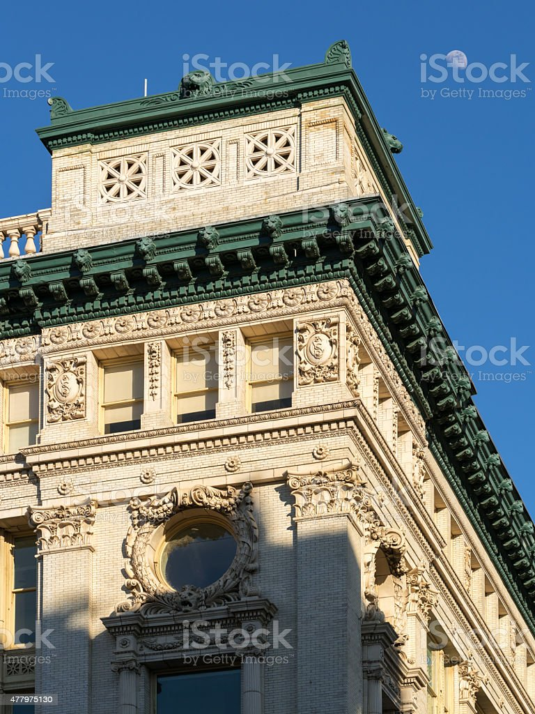 Architectural detail of Beaux-Arts style Chelsea building, New York stock photo