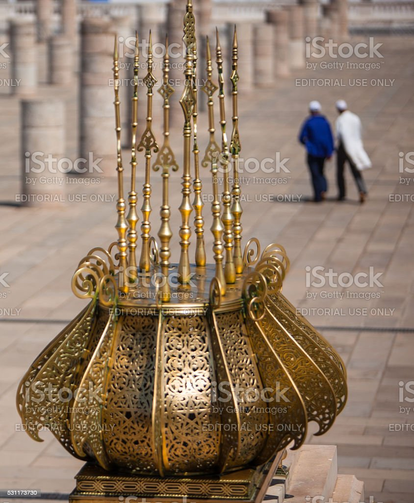 Architectural detail of brasswork at the Hassan Tower. stock photo