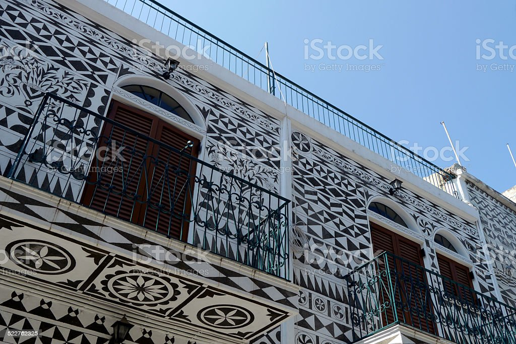 architectural detail of buildings in pyrgi town, greece stock photo