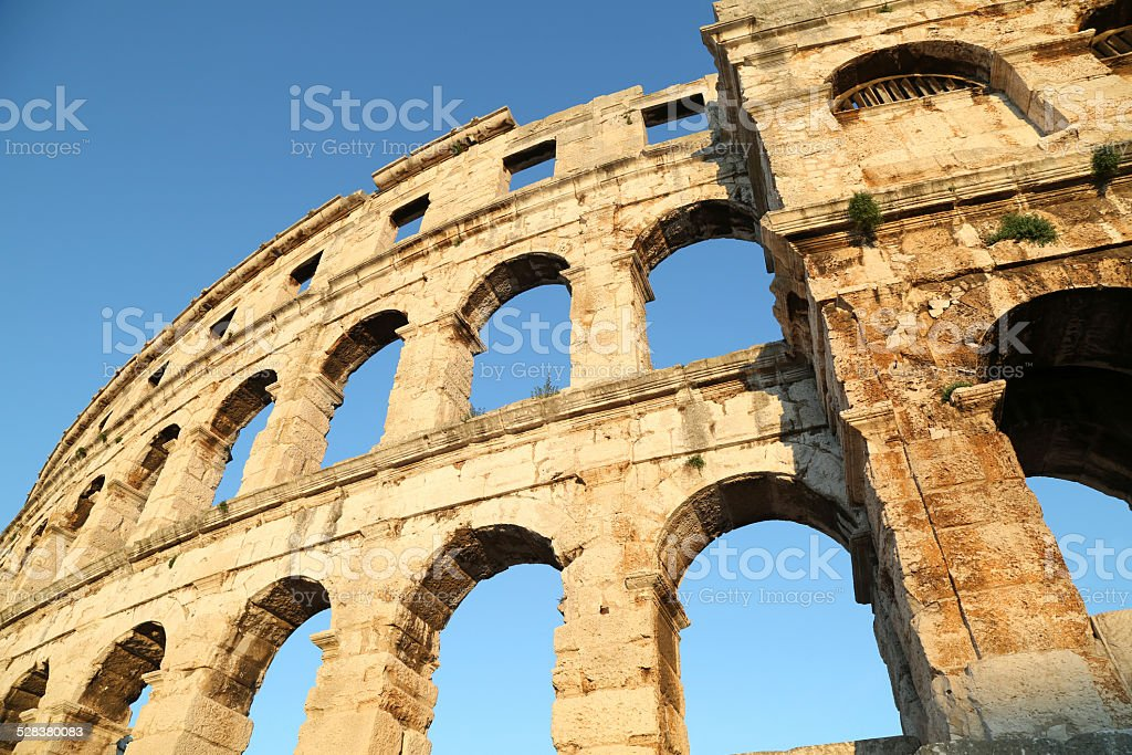 Architectural detail of coliseum structure, Pula Arena stock photo