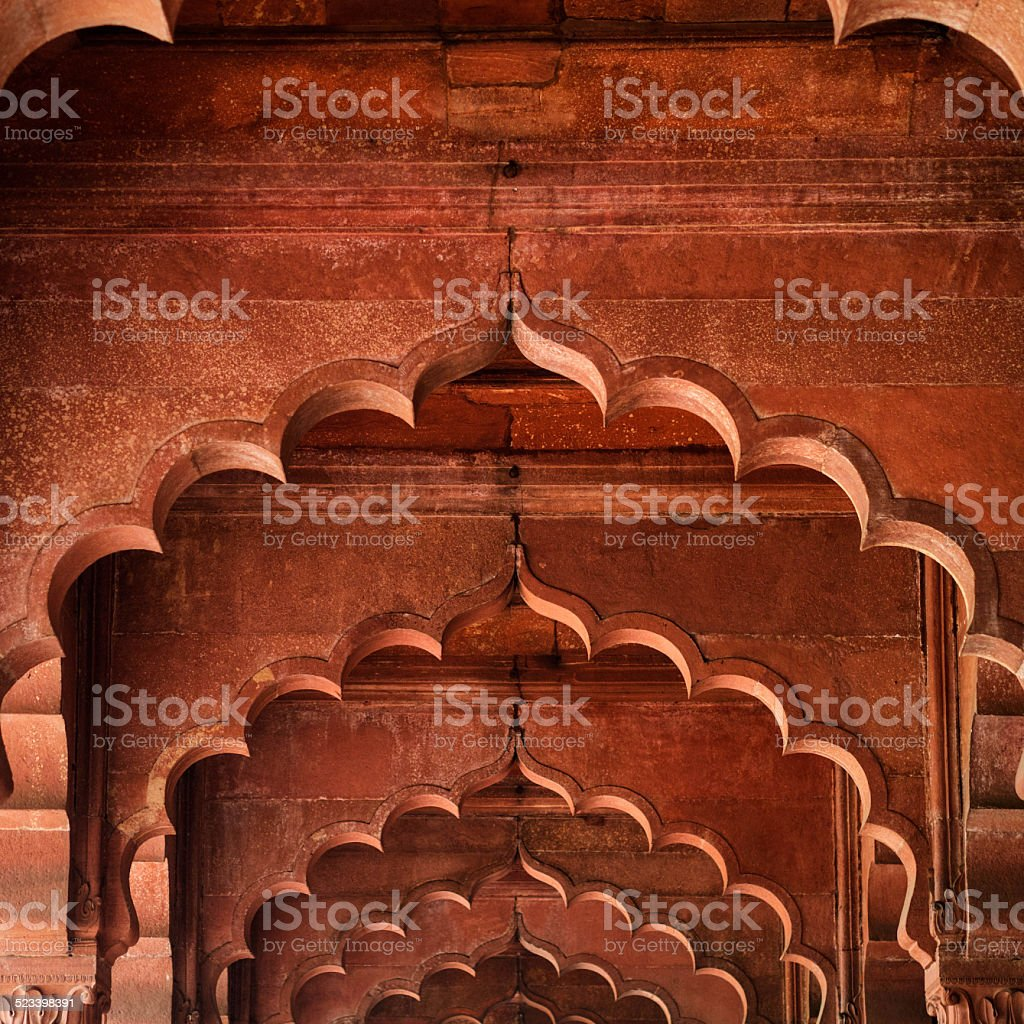 Architectural Detail of Diwan-i-Am at the Red Fort, Delhi, India stock photo