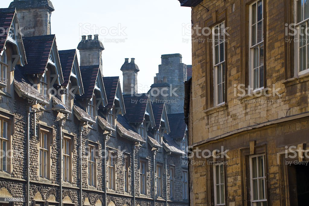 Architectural detail of houses in the centre of Cirencester stock photo