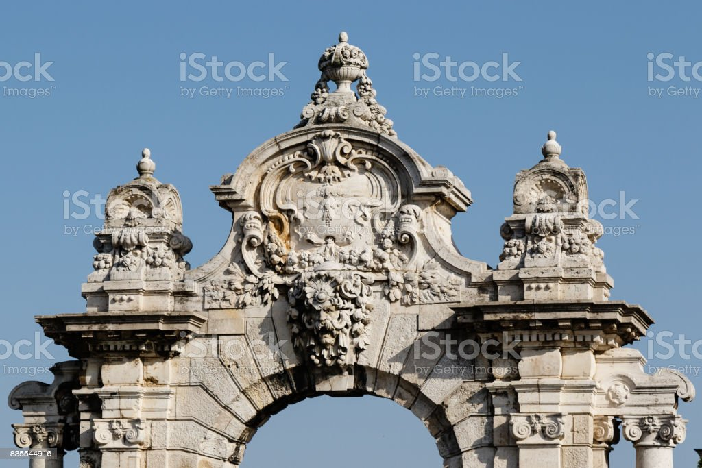 architectural detail of old building stock photo