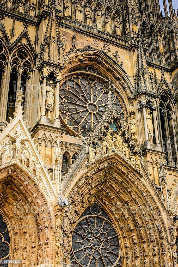 Architectural detail of Our Lady of Reims Cathedral in France stock photo