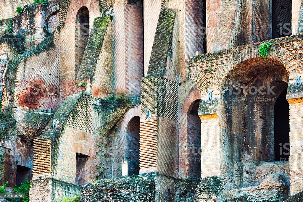Architectural detail of Palatine Hill at Roman Forum, Rome, Italy stock photo