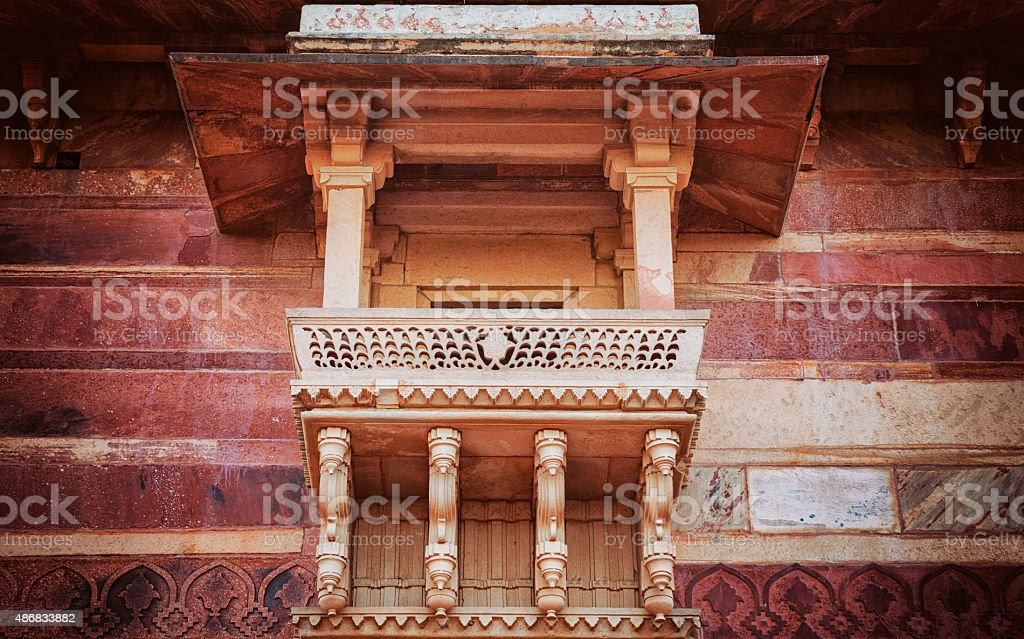 Architectural detail of the ancient city Fatehpur Sikri, India stock photo