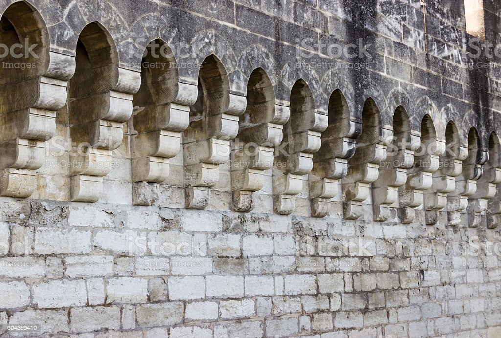 Architectural detail of the city surrounding wall in Avignon stock photo