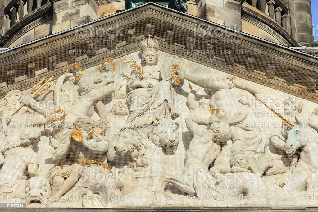 architectural detail of the Royal Palace in Amsterdam stock photo