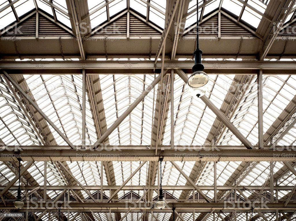 Architectural detail of the steel roof  structure stock photo