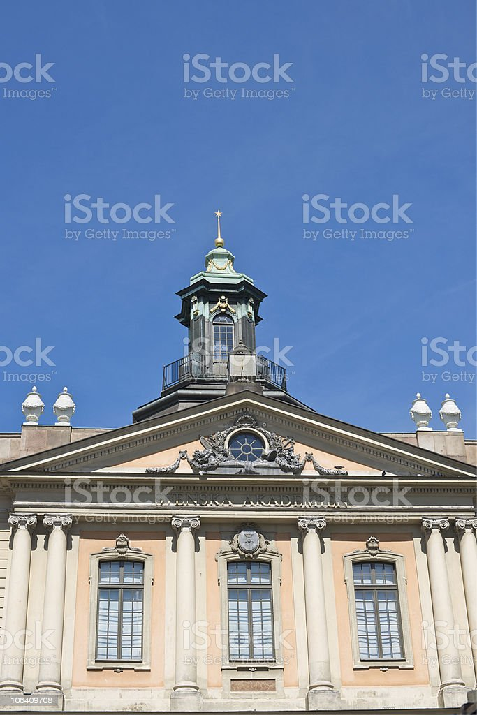 Architectural detail of the Swedish Academy building in Stockholm, Sweden stock photo