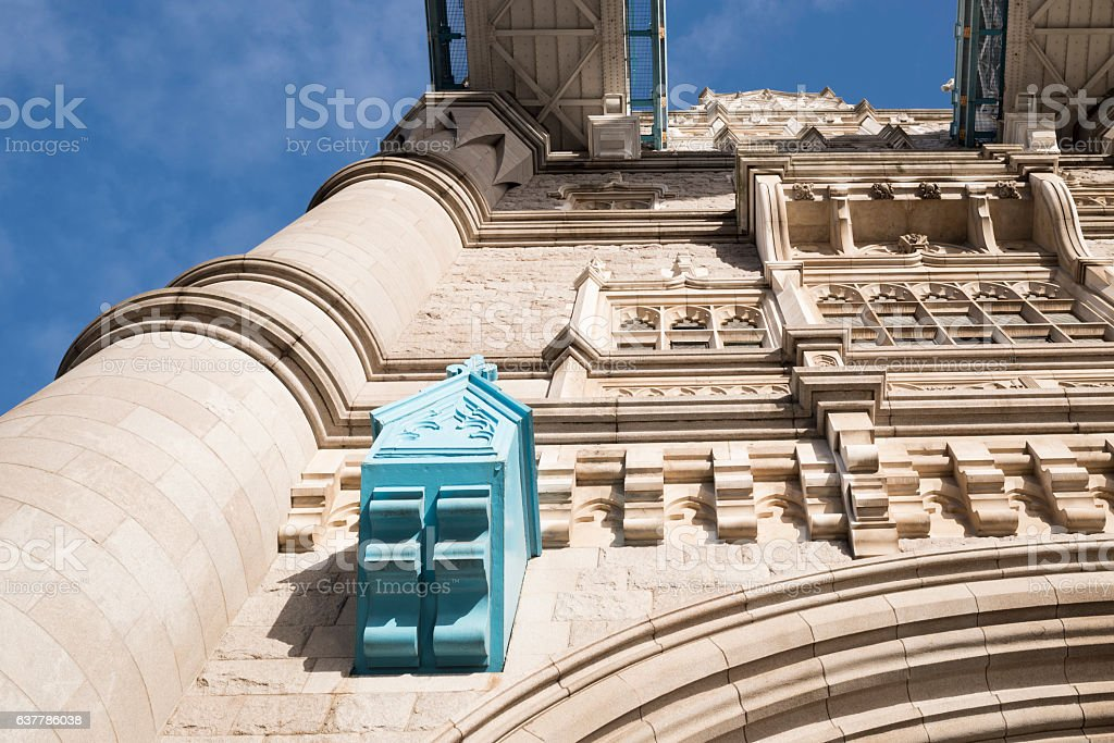 Architectural detail of Tower Bridge in London stock photo