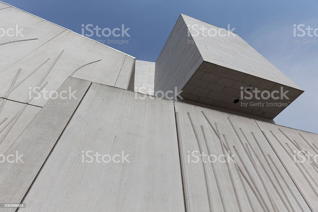 Architectural detail on Scottish Parliament building stock photo