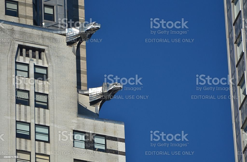 Architectural Detail on the Chrysler Building stock photo