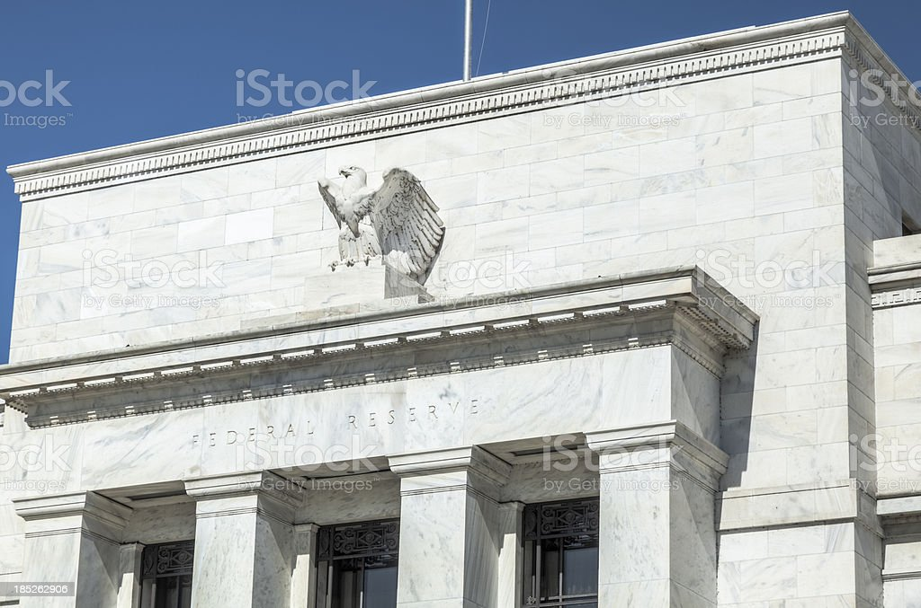 Architectural Detail on the U.S. Federal Reserve Building stock photo
