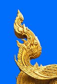 Architectural Detail : Part of Thai Filigree Isolated on Blue Background