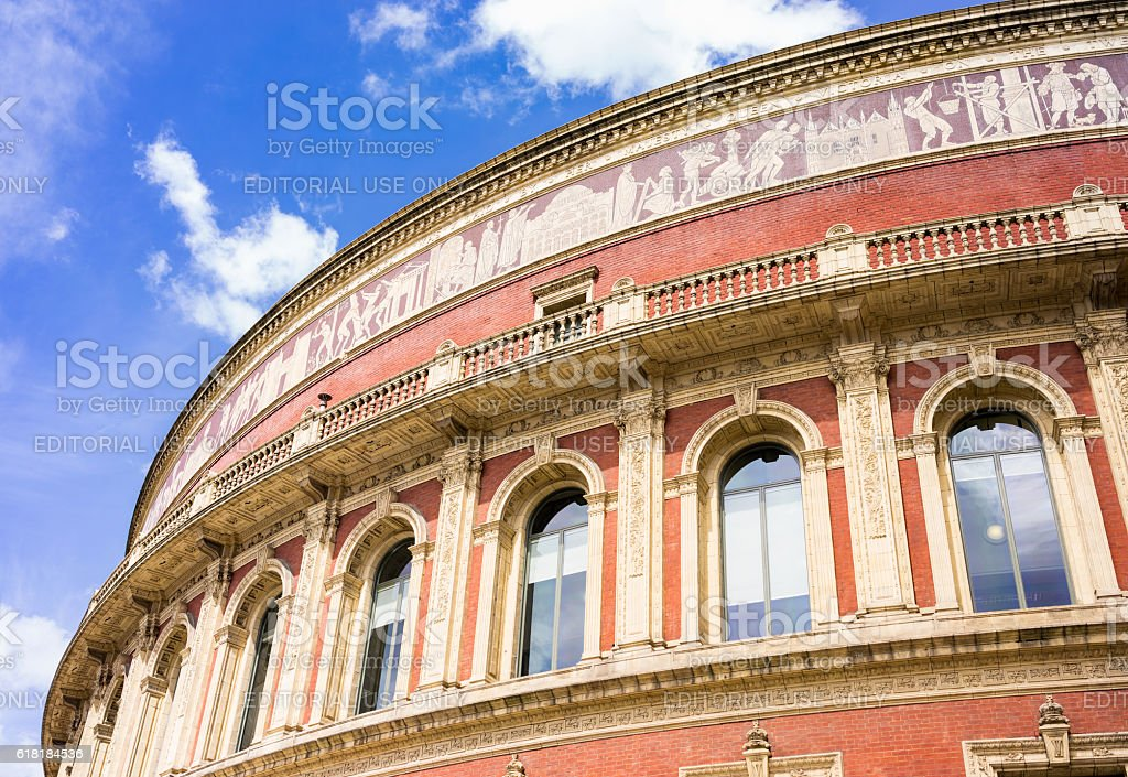 Architectural detail - Royal Albert Hall in London stock photo