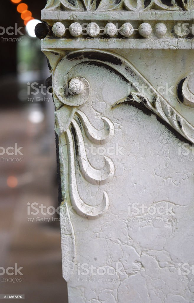 architectural detail with floral ornaments stock photo
