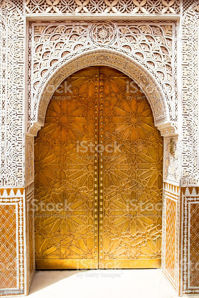 Architectural details and doorways of Morocco stock photo