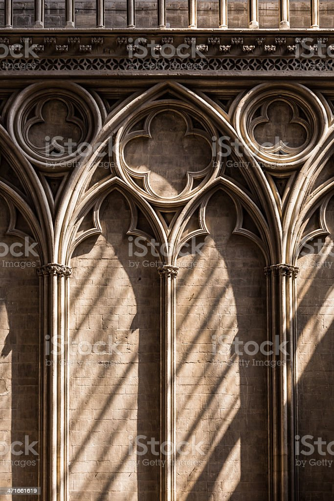 Architectural details - Bayeux Cathedral, France stock photo