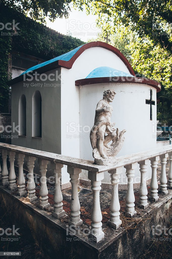 Architectural details from the Orthodox church in Greece stock photo