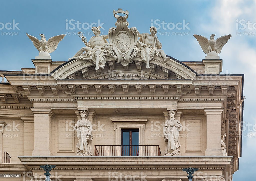 Architectural details of a building in Rome with Olympic Gods stock photo