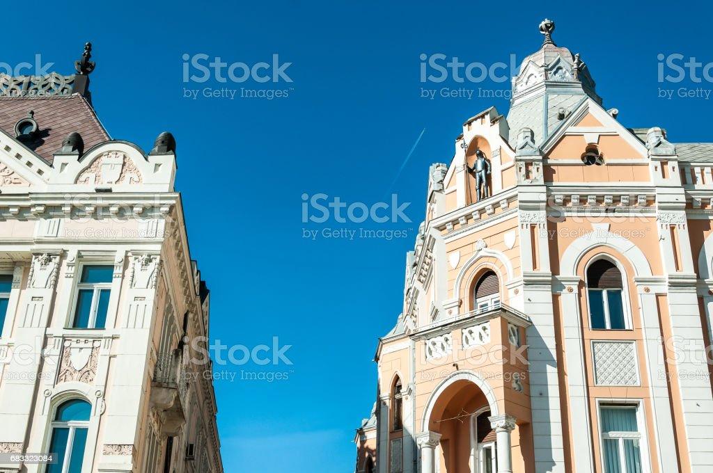 Architectural details of buildings in Novi Sad, Serbia. stock photo
