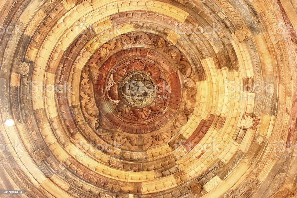Architectural details of ceiling at Qutub Minar stock photo