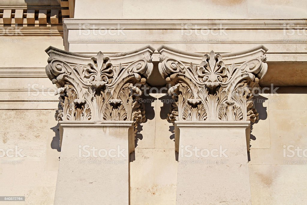 Architectural details of corinthian columns in London stock photo
