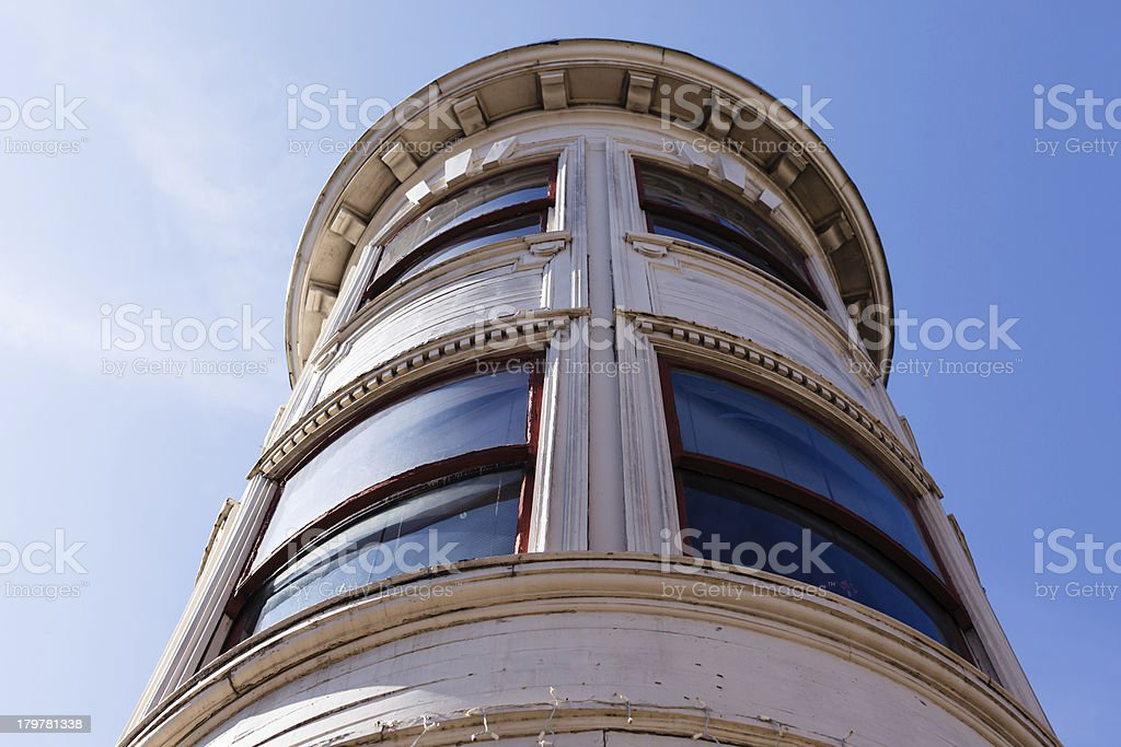 Architectural details of corner window on row houses royalty-free stock photo