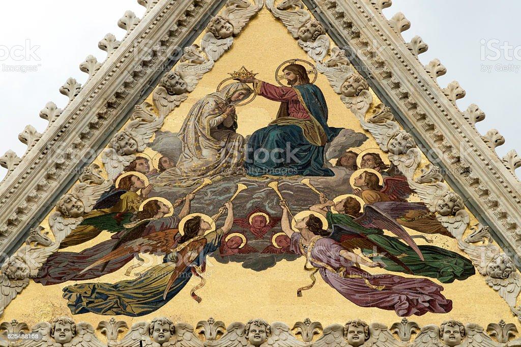 Architectural details of Duomo facade - Siena stock photo