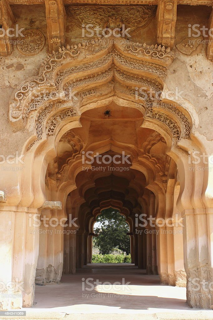 Architectural details of Lotus palace (Mahal) in Hampi stock photo