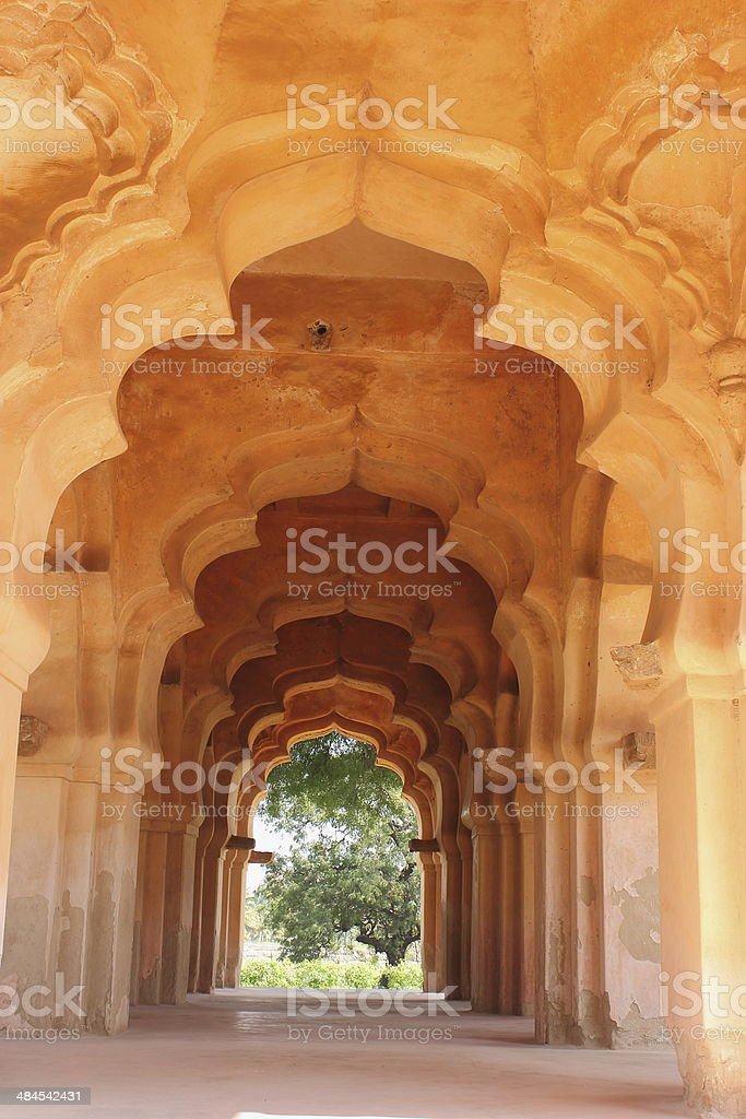 Architectural details of Lotus palace in Hampi stock photo