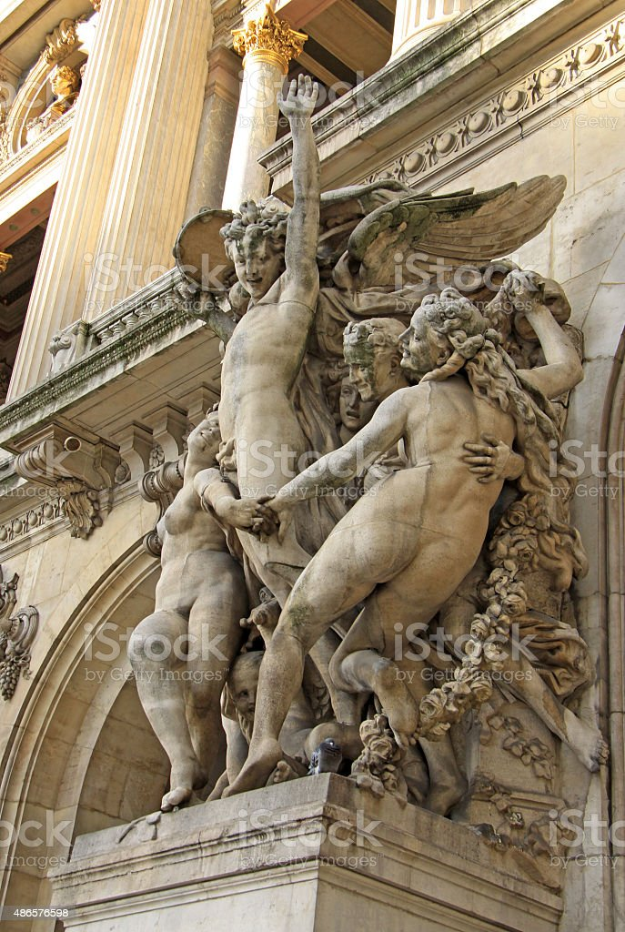 Architectural details of Opera Garnier, Paris, France stock photo