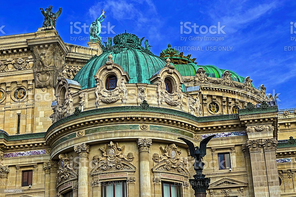 Architectural details of Opera National de Paris. Front Facade stock photo