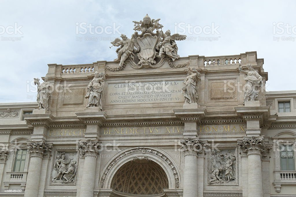 Architectural details of the facade Palazzo Poli in Rome stock photo