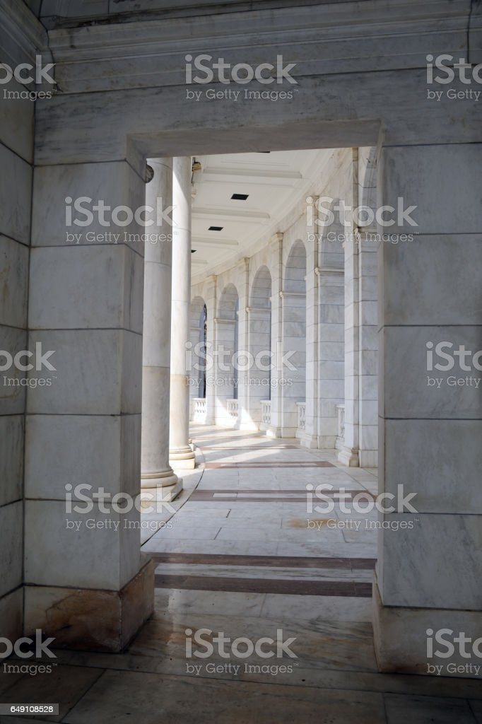 Architectural details of the Memorial Amphitheater at Arlington stock photo