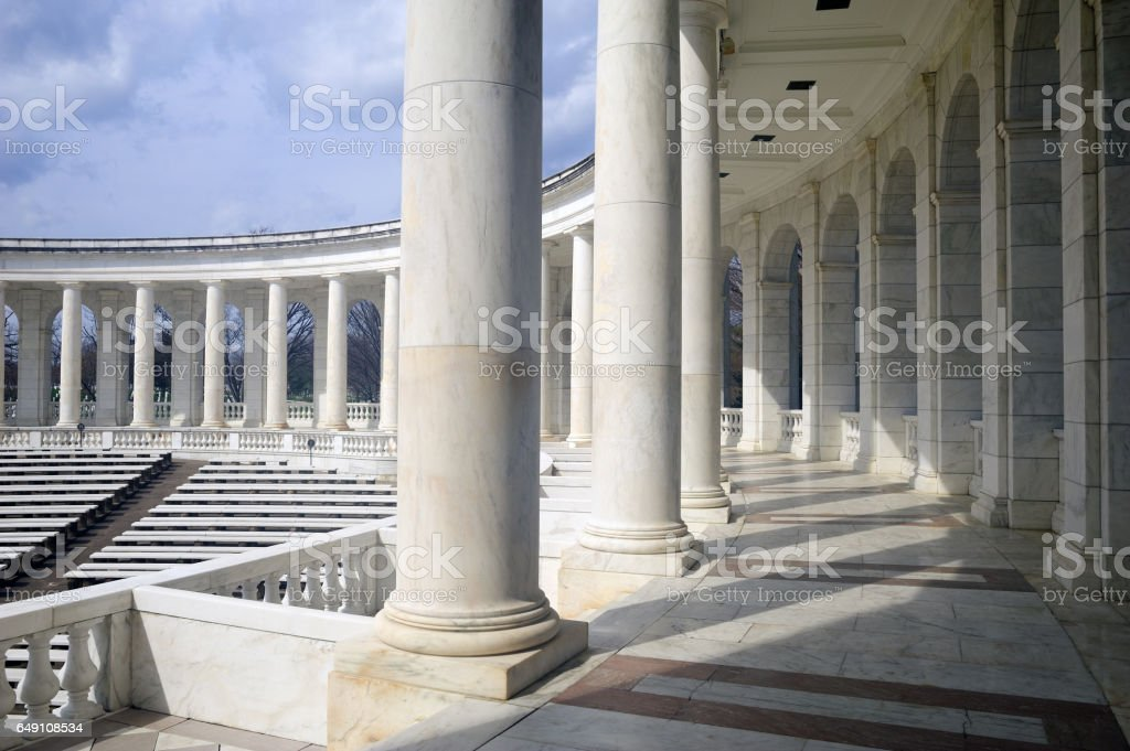 Architectural details of the Memorial Amphitheater stock photo