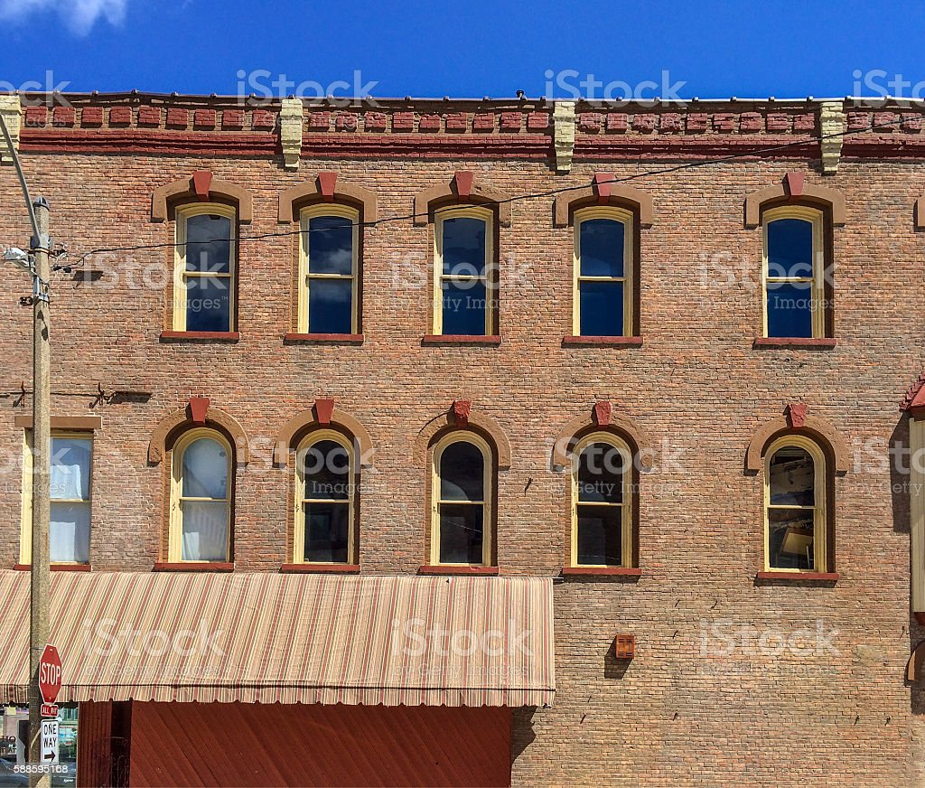 Architectural details on a 20th century brick building stock photo