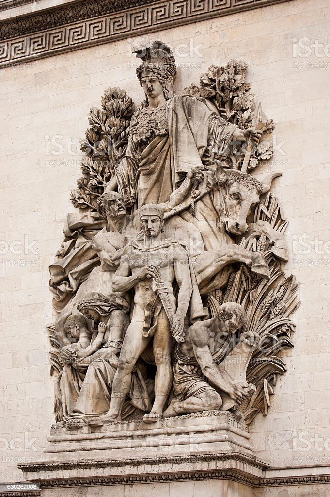 Architectural details on Arc de Triomphe in Paris, France stock photo