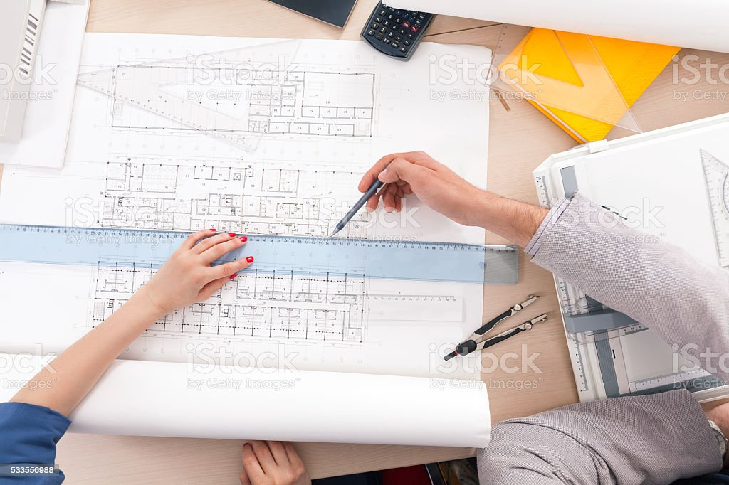Architectural Drafting stock photo