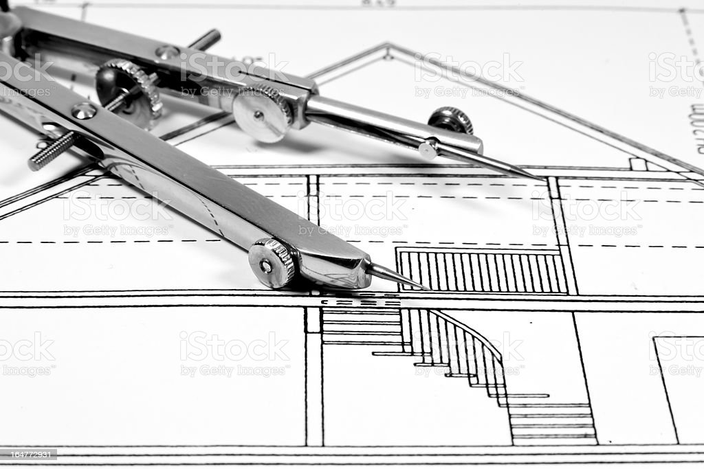 Architectural drawing and tool royalty-free stock photo