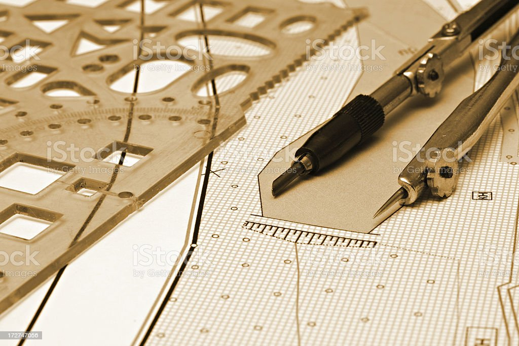architectural drawing and tools royalty-free stock photo