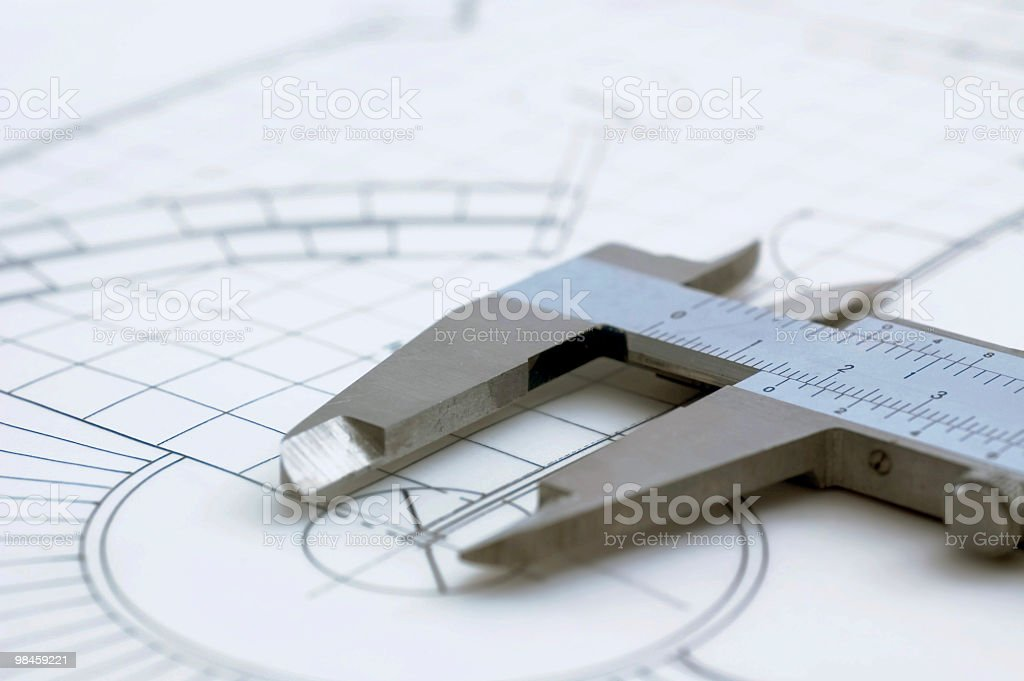 Architectural Drawing & Caliper stock photo