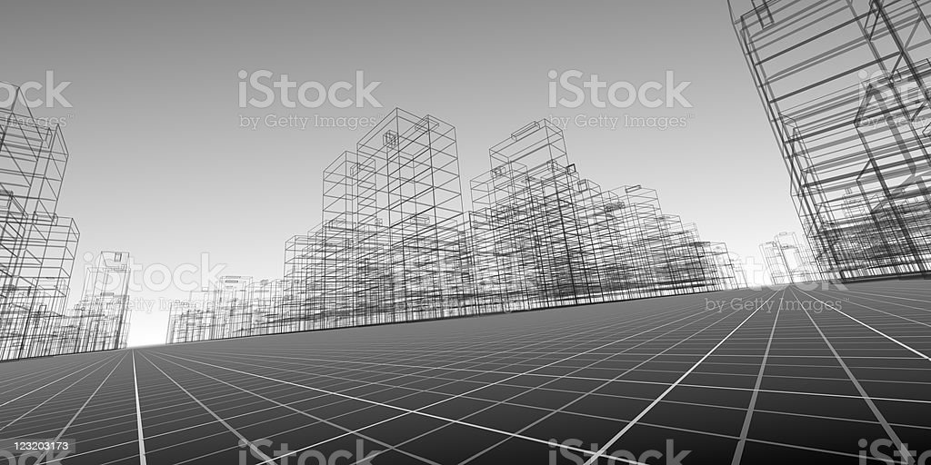 Architectural drawing of wireframe buildings in perspective stock photo
